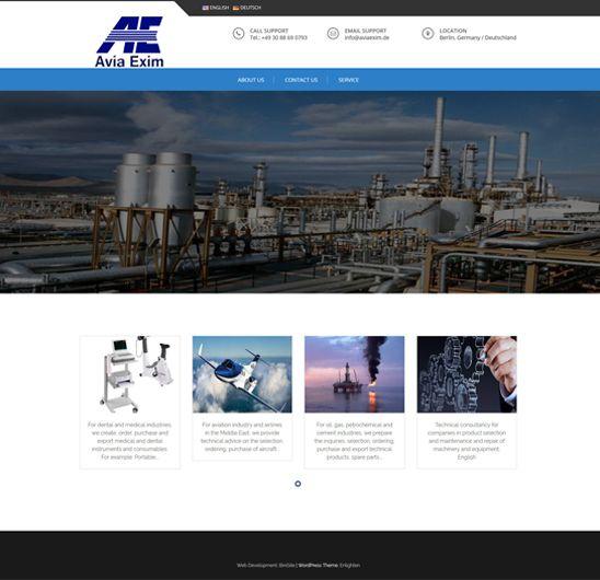 طراحی سایت شرکت هولدینگ Avia Exim