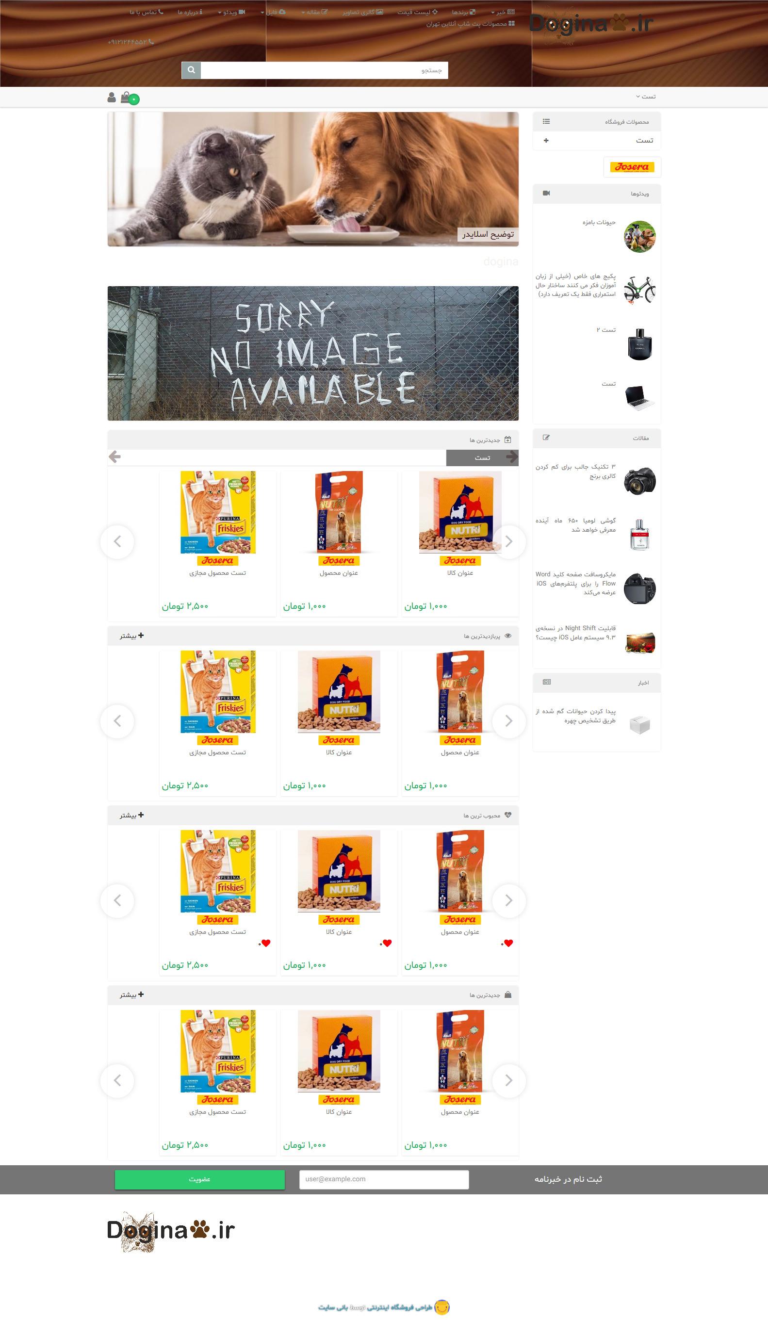 طراحی سایت فروشگاه پت شاپ دوگینا